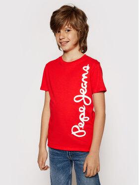 Pepe Jeans Pepe Jeans T-Shirt Waldo PB501279 Czerwony Regular Fit