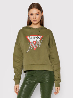 Guess Guess Džemperis Icon W1BQ09 K68I1 Žalia Boxy Fit
