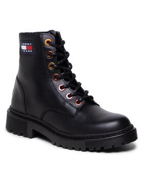 Tommy Jeans Tommy Jeans Trapery Iridescent Eyelets Flat Boot EN0EN01537 Czarny