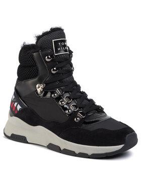 TOMMY HILFIGER TOMMY HILFIGER Sneakersy Patent Fashion Sporty Boot FW0FW04593 Černá