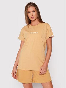 PLNY LALA PLNY LALA T-Shirt Classic PL-KO-CL-00240 Brązowy Regular Fit
