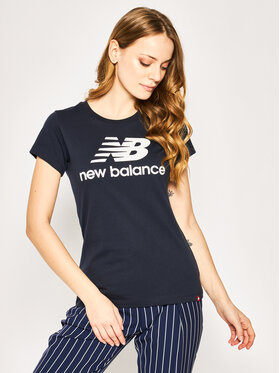 New Balance New Balance T-Shirt Essentials Stacked Logo Tee WT91546 Granatowy Athletic Fit