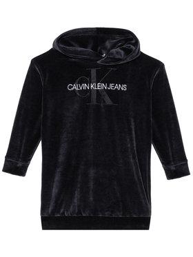 Calvin Klein Jeans Calvin Klein Jeans Sukienka codzienna Velour Monogram Hoodie IG0IG00711 Czarny Regular Fit