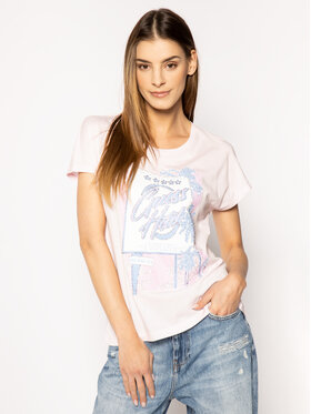 Guess Guess Marškinėliai Glamour Tee W0GI50 K46D0 Rožinė Regular Fit