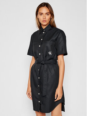 Calvin Klein Jeans Calvin Klein Jeans Rochie tip cămașă J20J216481 Negru Relaxed Fit