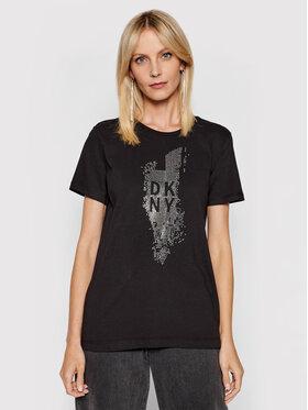 DKNY DKNY Póló P02M9CNA Fekete Regular Fit