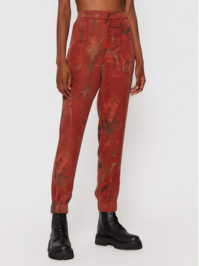 Desigual Desigual Kalhoty z materiálu Camotiger 21WWPN07 Červená Regular Fit