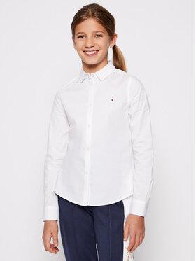 Tommy Hilfiger Tommy Hilfiger Koszula Girls Stretch Poplin KG0KG03530 D Biały Regular Fit