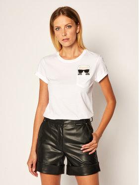KARL LAGERFELD KARL LAGERFELD T-Shirt Ikonik Karl Pocket 205W1701 Biały Regular Fit