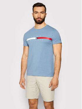 Tommy Hilfiger Tommy Hilfiger Tricou Global Stripe Chest Tee MW0MW16572 Albastru Regular Fit