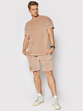 La Manuel La Manuel Komplet t-shirt i szorty sportowe Velour Summer Set Beżowy Regular Fit
