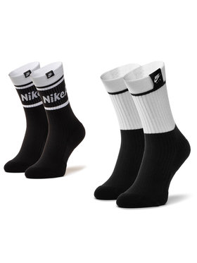 NIKE NIKE Комплект 2 чифта дълги чорапи мъжки SK0202 100 Черен