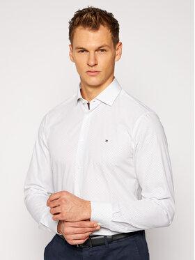Tommy Hilfiger Tailored Tommy Hilfiger Tailored Koszula Poplin Print 2 Color TT0TT08202 Biały Slim Fit