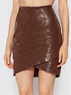 Guess Guess Sukňa z imitácie kože Rosalba W1BD15 WE5V0 Hnedá Slim Fit