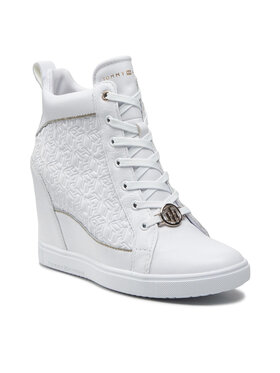 Tommy Hilfiger Tommy Hilfiger Sneakers Metallic Pop Sneaker Wedge FW0FW06118 Blanc