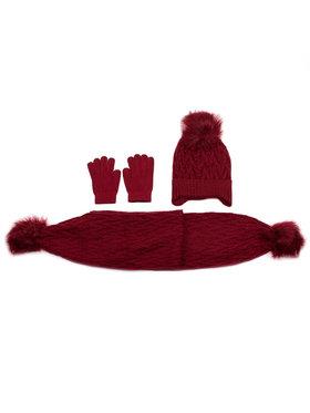 Mayoral Mayoral Zestaw czapka, szalik i rękawiczki 10701 Bordowy