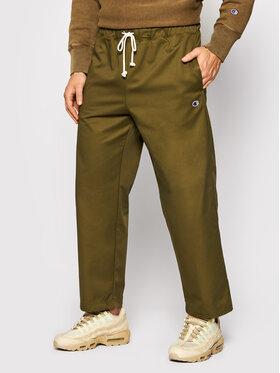 Champion Champion Spodnie materiałowe Straight Leg Cropped Woven 216544 Zielony Regular Fit