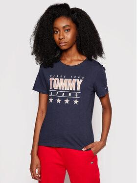 Tommy Jeans Tommy Jeans T-shirt Tjw Metallic DW0DW10197 Tamnoplava Slim Fit