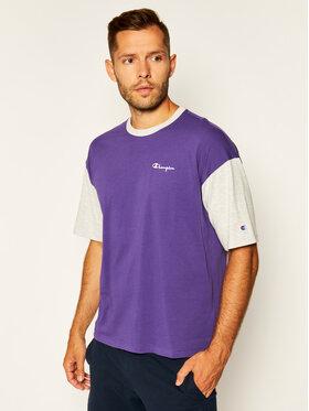 Champion Champion T-Shirt Manica Logo 214285 Fioletowy Regular Fit