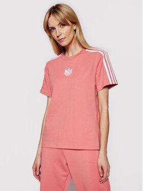 adidas adidas Marškinėliai adicolor 3D Trefoil GN6702 Rožinė Loose Fit