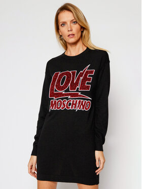 LOVE MOSCHINO LOVE MOSCHINO Sukienka dzianinowa WS22R11X 0683 Czarny Regular Fit