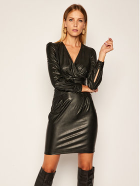 Pinko Pinko Sukienka skórzana Enrico Al 20-21 BLK01 1G150D Y6BF Czarny Slim Fit