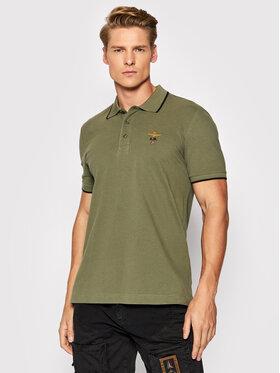Aeronautica Militare Aeronautica Militare Тениска с яка и копчета 212PO1308P82 Зелен Regular Fit