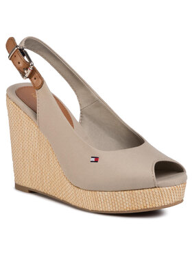 TOMMY HILFIGER TOMMY HILFIGER Εσπαντρίγιες Iconic Elena Sling Back Wedge FW0FW04789 Μπεζ
