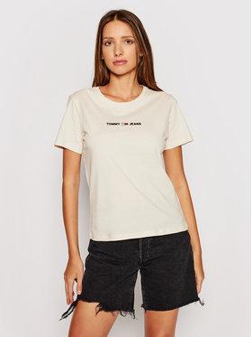 Tommy Jeans Tommy Jeans Marškinėliai Multi Linear Logo DW0DW09818 Smėlio Slim Fit