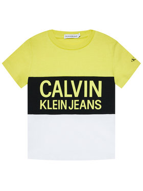 Calvin Klein Jeans Calvin Klein Jeans Tričko Colour Block Logo Fitted IB0IB00887 Žltá Regular Fit