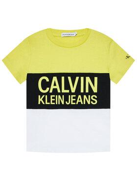 Calvin Klein Jeans Calvin Klein Jeans Tricou Colour Block Logo Fitted IB0IB00887 Galben Regular Fit