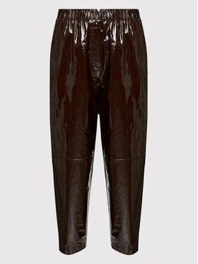 Samsøe Samsøe Samsøe Samsøe Кожени панталони Paloma F21300162 Кафяв Regular Fit