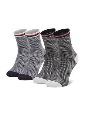 Tommy Hilfiger Tommy Hilfiger Súprava 2 párov vysokých dámskych ponožiek 100002396 Tmavomodrá