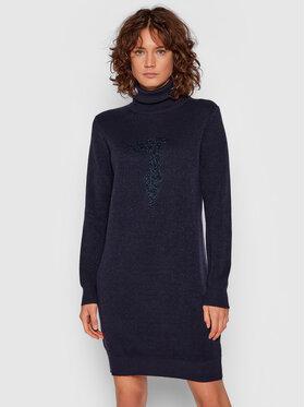 Trussardi Trussardi Sukienka dzianinowa 56D00549 Granatowy Regular Fit