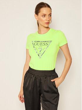 Guess Guess Tričko Ambra W0YI98 J1300 Zelená Slim Fit