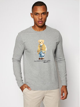 Polo Ralph Lauren Polo Ralph Lauren Marškinėliai ilgomis rankovėmis Lsl 710828276003 Pilka Slim Fit