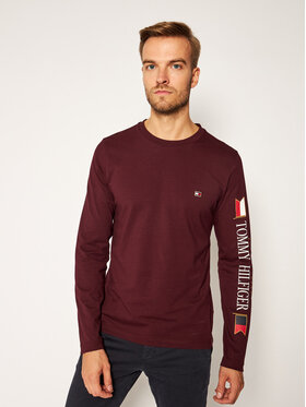 TOMMY HILFIGER TOMMY HILFIGER Longsleeve Mirrored Flags MW0MW15329 Bordeaux Regular Fit