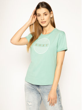 Roxy Roxy T-Shirt ERJZT04809 Zelená Regular Fit