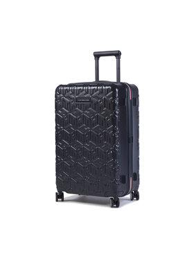 Tommy Hilfiger Tommy Hilfiger Közepes keményfedelű bőrönd Tommy Monogram Case 24 AU0AU01064 Sötétkék