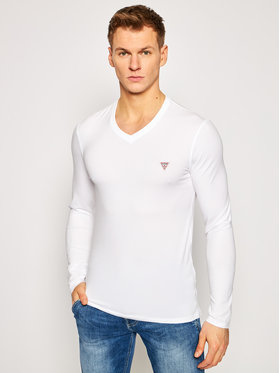 Guess Guess Тениска с дълъг ръкав M1RI08 J1311 Бял Super Slim Fit