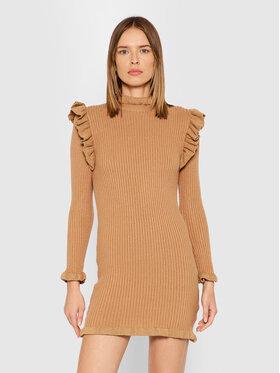 Rinascimento Rinascimento Плетена рокля CFM0010441003 Кафяв Slim Fit