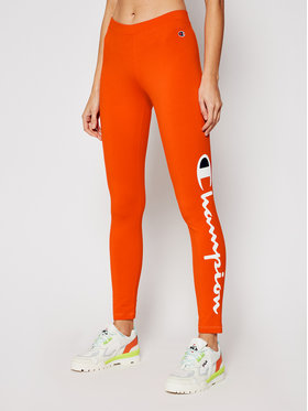 Champion Champion Leggings Large Script Logo 112857 Orange Athletic Fit