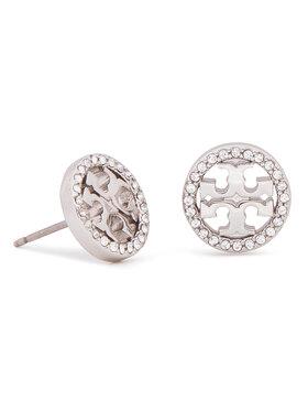 Tory Burch Tory Burch Naušnice Crystal Logo Circle Stud Earring 53422 Srebrna
