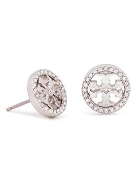 Tory Burch Tory Burch Náušnice Crystal Logo Circle Stud Earring 53422 Strieborná