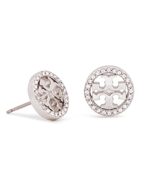Tory Burch Tory Burch Обици Crystal Logo Circle Stud Earring 53422 Сребрист