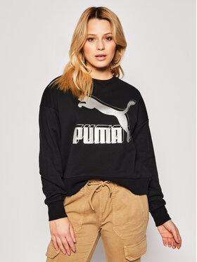 Puma Puma Džemperis Classics Logo Metallic Crew 597049 Juoda Regular Fit