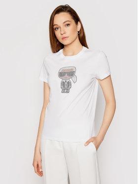 KARL LAGERFELD KARL LAGERFELD T-Shirt Ikonik Rhinestone Karl 210W1726 Biały Regular Fit