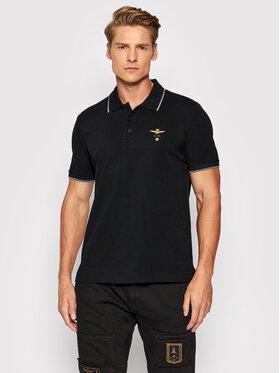 Aeronautica Militare Aeronautica Militare Тениска с яка и копчета 212PO1308P82 Черен Regular Fit