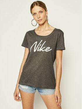 Nike Nike Тениска от техническо трико Dry-FIT Scoop Logo Tee CQ0258 Сив Regular Fit