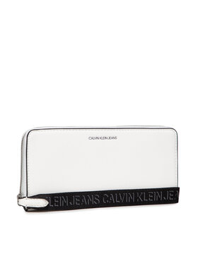 Calvin Klein Jeans Calvin Klein Jeans Veľká dámska peňaženka Trapezoid Shadow Z/A W/Wristlet K60K608404 Biela